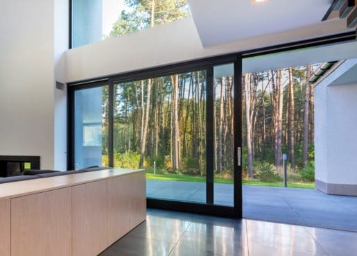 Large Sliding glass patio doors in black