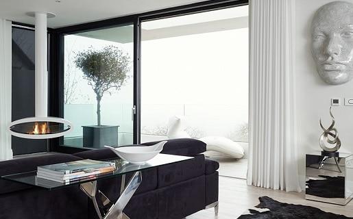 Black Sliding Glass Doors in Living Room